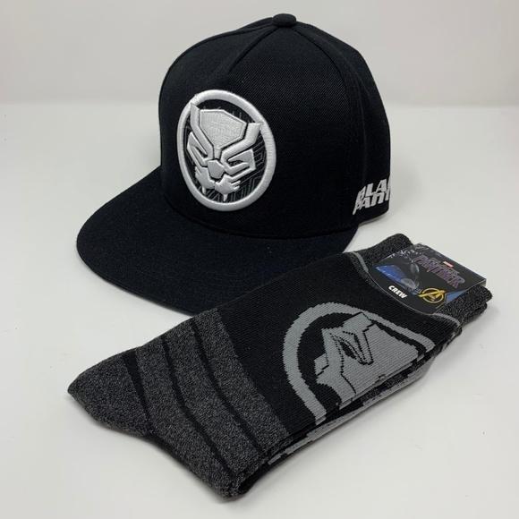 super popular dce37 fb558 Marvel Avengers Black Panther Snapback Hat   Socks